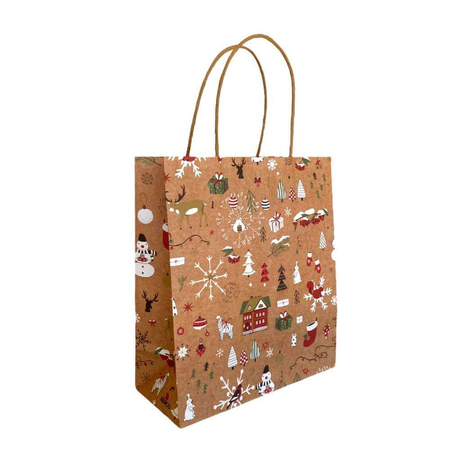 Kraft Paper Vintage Christmas Gift Bag with Handle - Style F