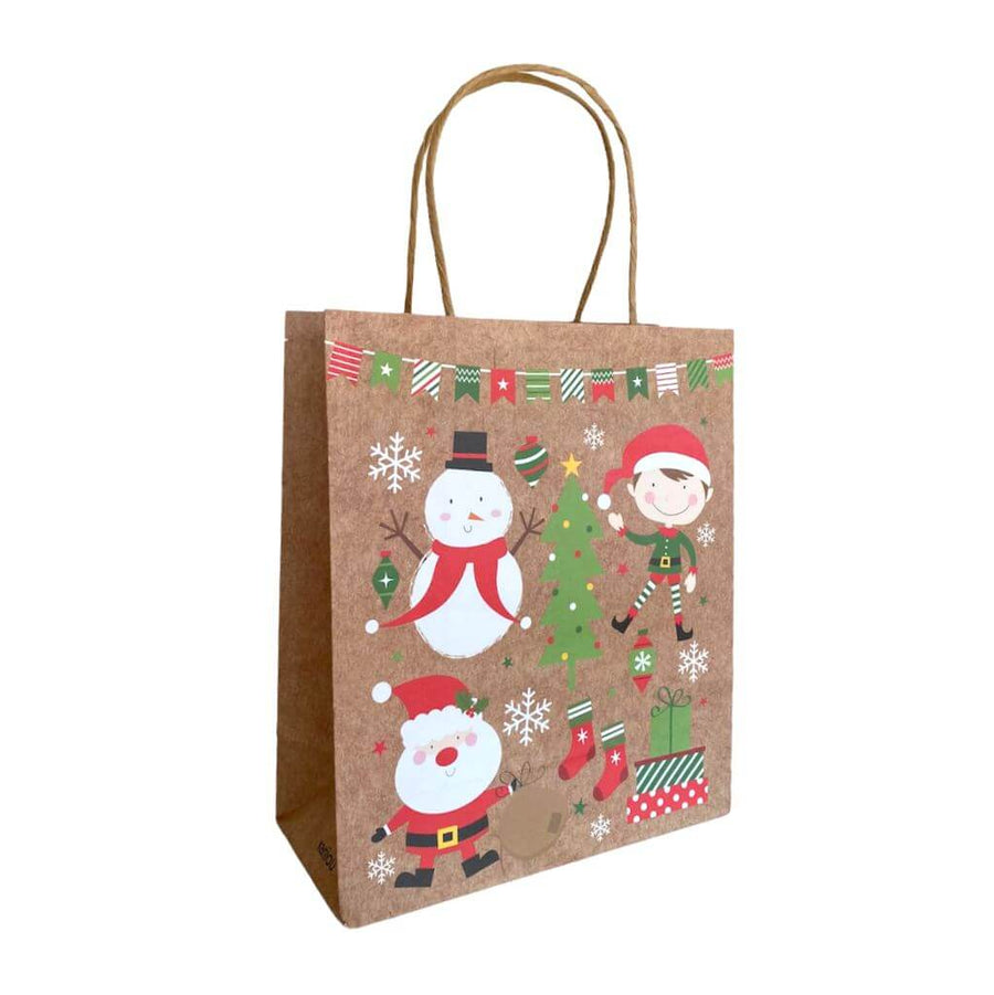 Kraft Paper Vintage Christmas Gift Bag with Handle - Style H