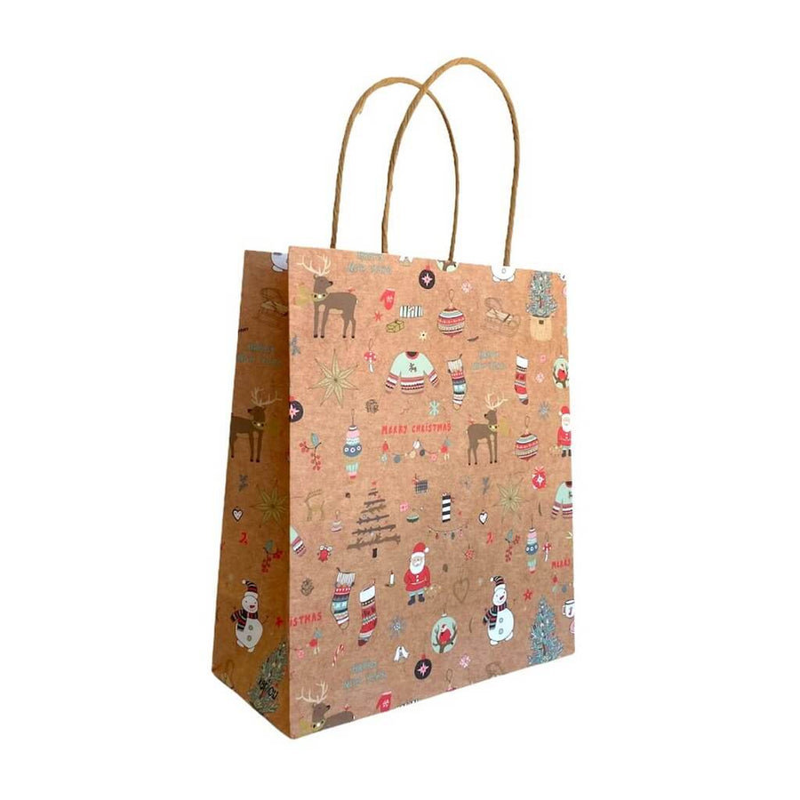 Kraft Paper Vintage Christmas Gift Bag with Handle - Style B