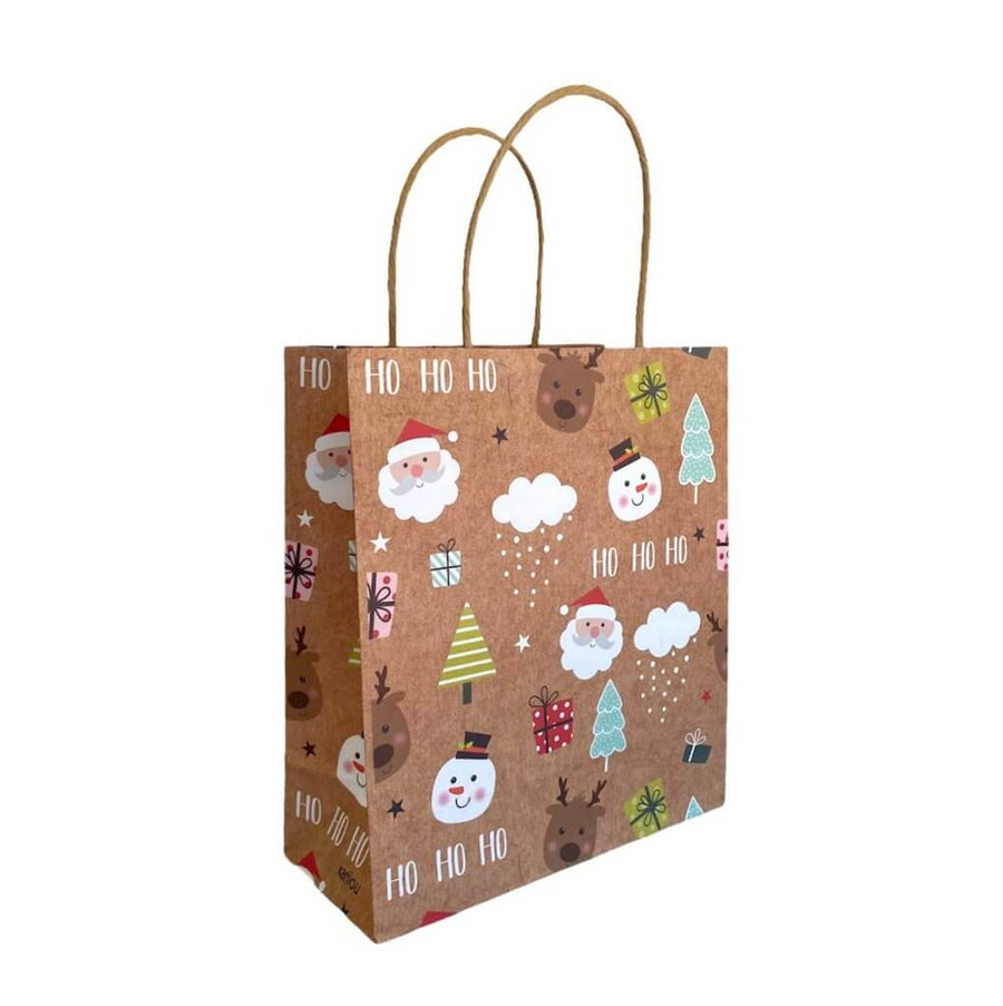 Kraft Paper Vintage Christmas Gift Bag with Handle - Style C