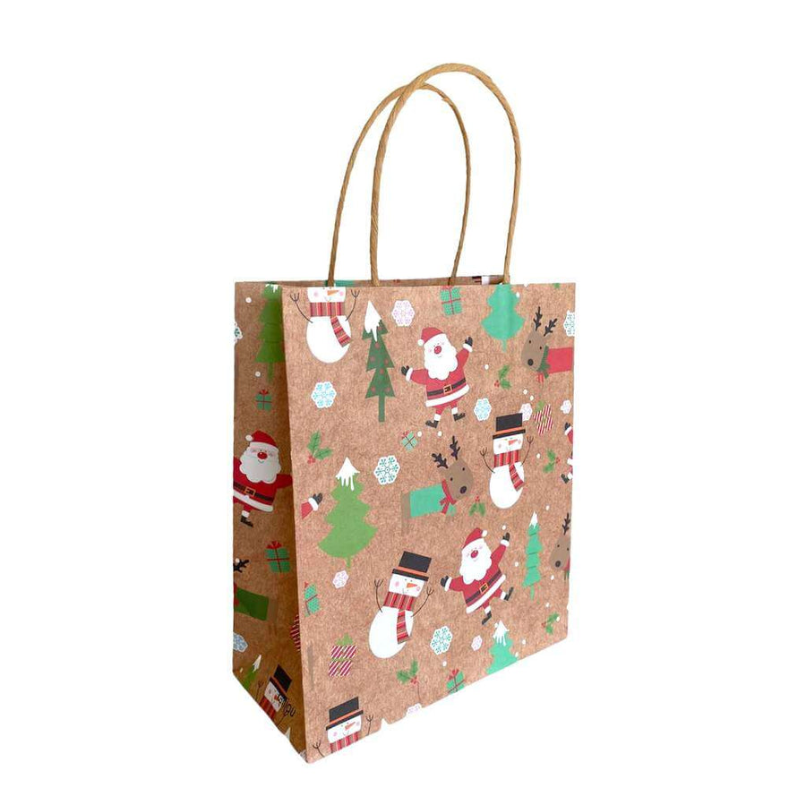 Kraft Paper Vintage Christmas Gift Bag with Handle - Style D