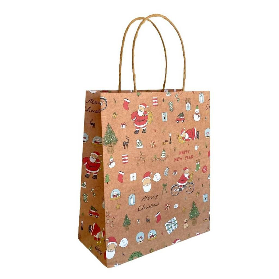 Kraft Paper Vintage Christmas Gift Bag with Handle - Style E