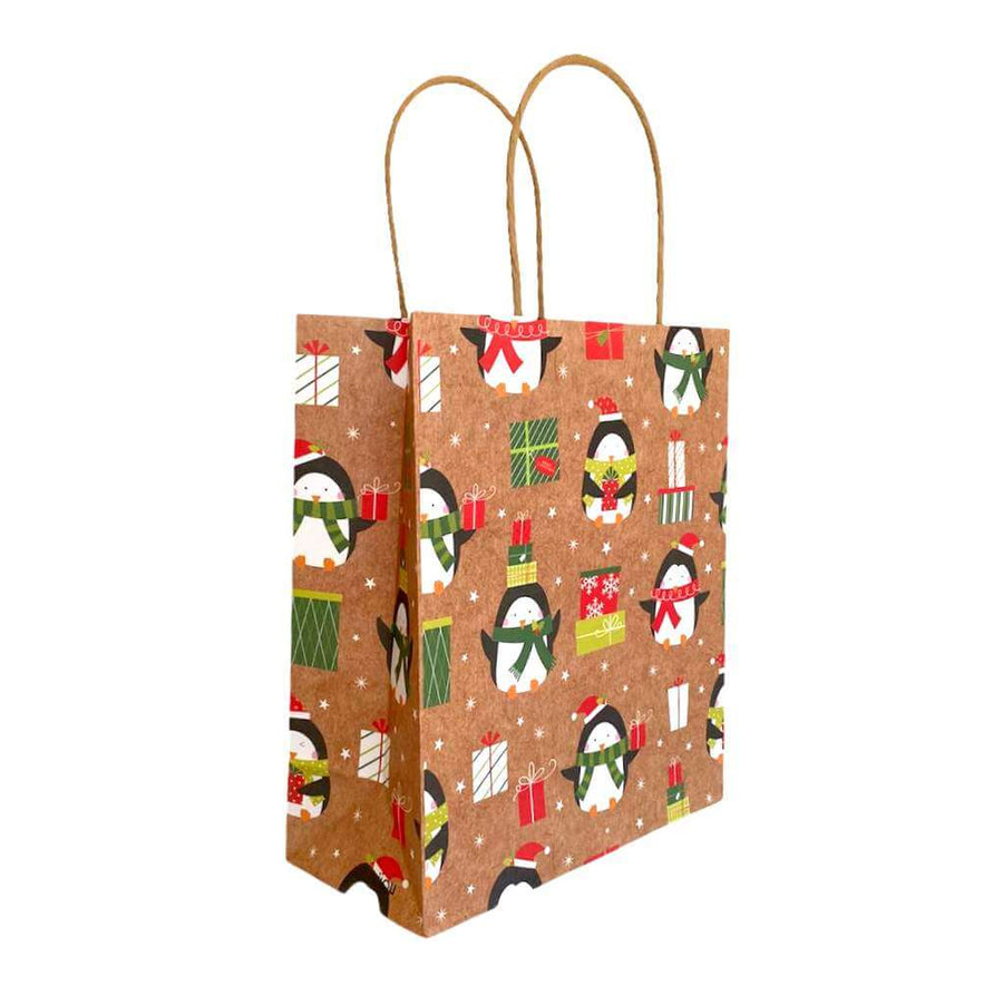 Kraft Paper Vintage Christmas Gift Bag with Handle - Style G
