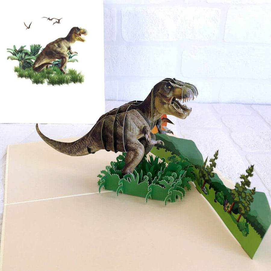 Handmade Online Party Supplies Roaring T-Rex Dinosaur In A Jungle Pop Up Card