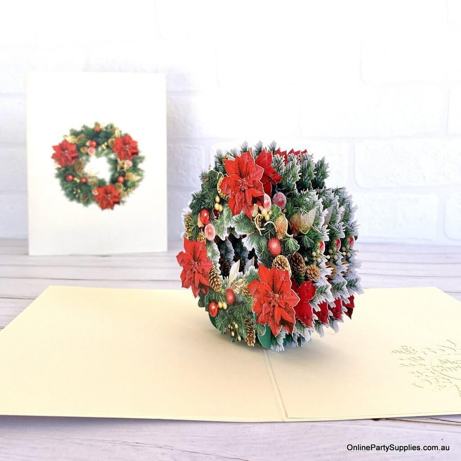 Traditional Christmas Red Poinsettia & Gold Pine Flower Wreath Pop Up Greeting Card - 3D Christmas Cards