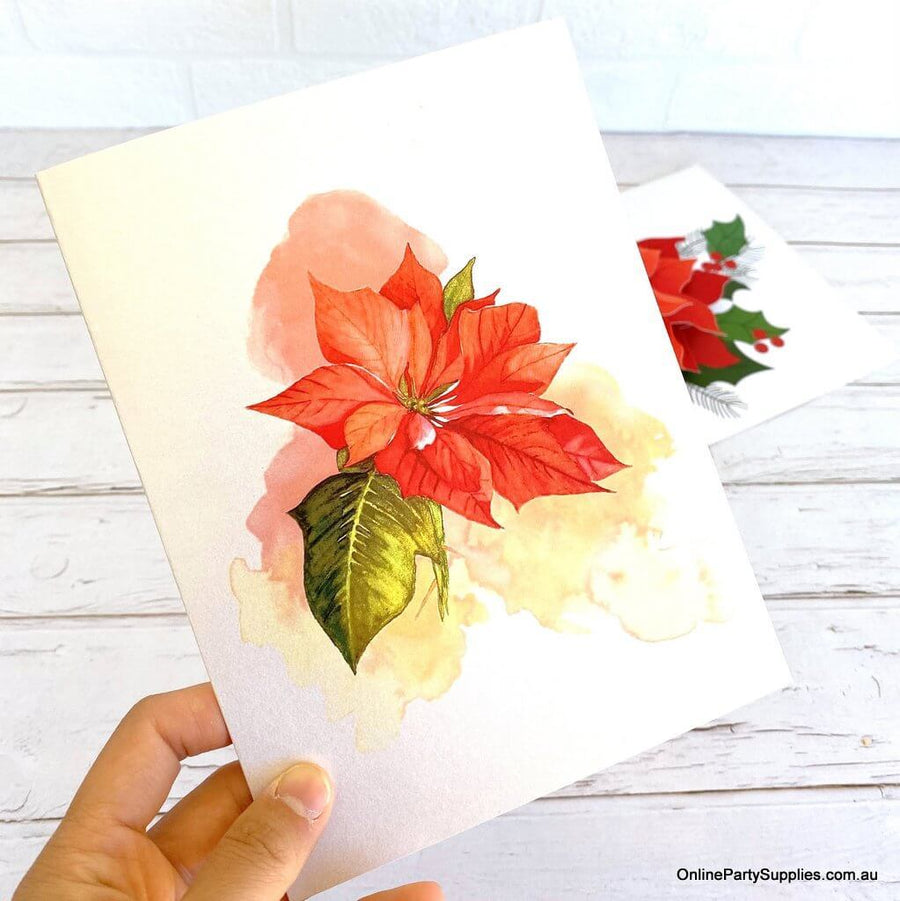 Online Party Supplies Australia Traditional Christmas Red Poinsettia Flower 3D Pop Up Greeting Card for Mum