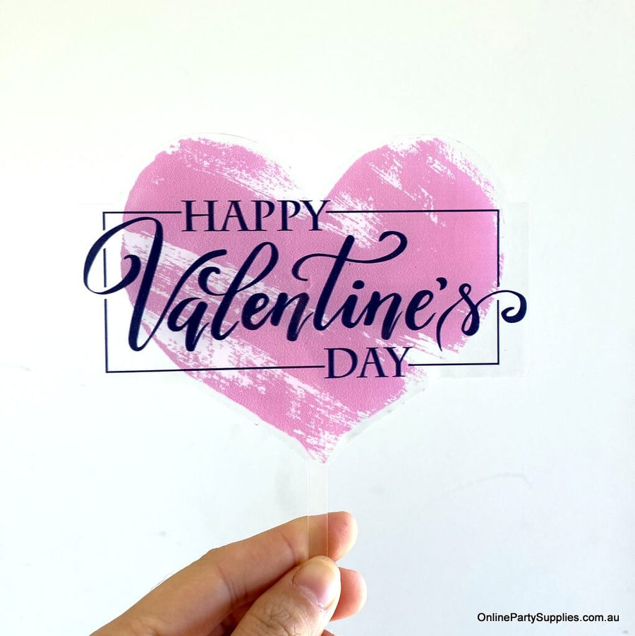 Online Party Supplies Australia Happy Valentine's Day heart shaped cake topper