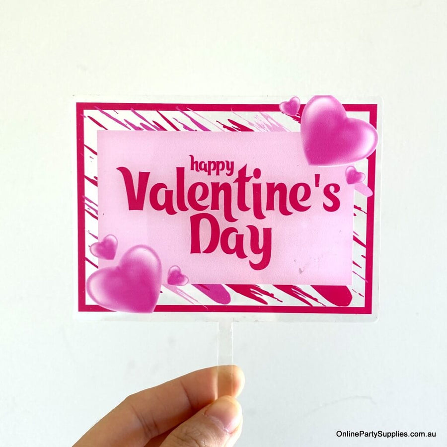 Online Party Supplies Australia Acrylic Pink Transparent happy valentine's day rectangular cake topper