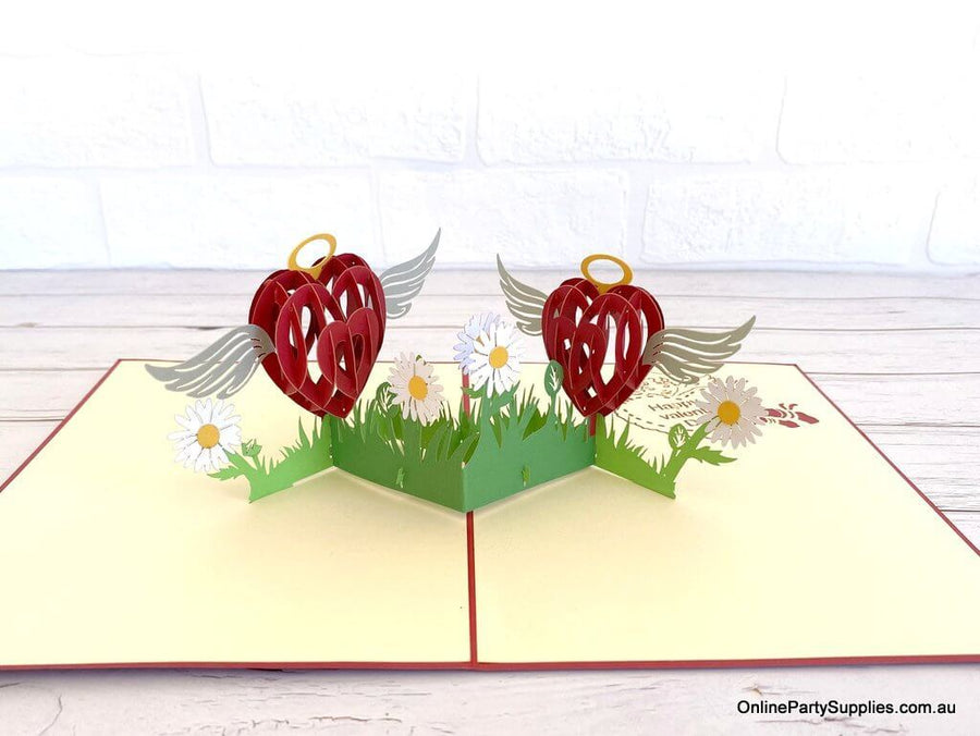 Online Party Supplies Australia Two Red Hearts with Wings 3D Pop Up Valentine's Day Card For her