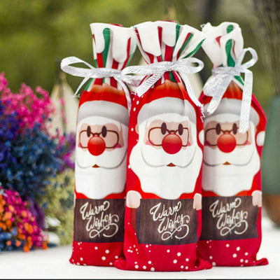 Warm Wishes Snowman Reindeer Santa Claus Christmas Wine Bottle Cover - Online Party Supplies