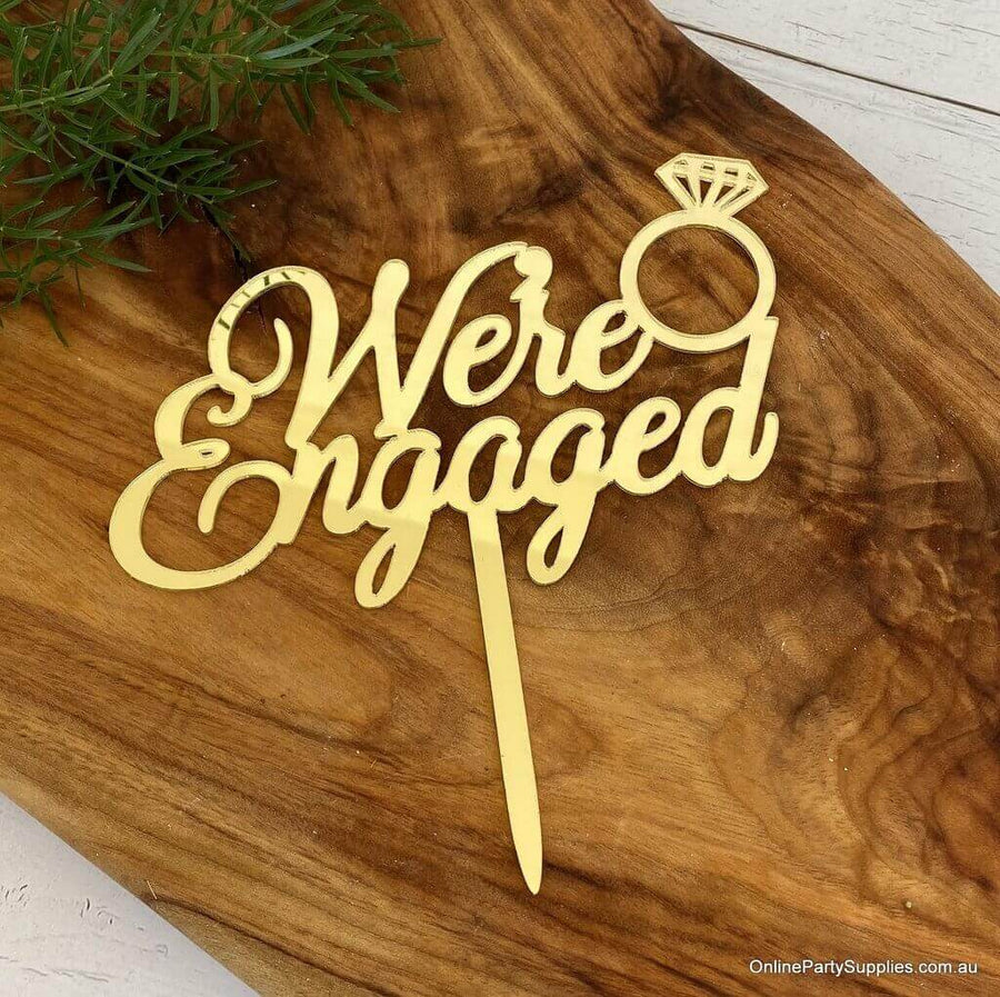 Online Party Supplies Australia Gold Mirror Acrylic 'We're Engaged' Diamond Ring Wedding Cake Topper