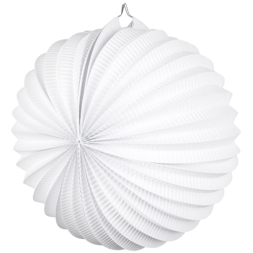 White Accordion Paper Lantern Ball - 20cm