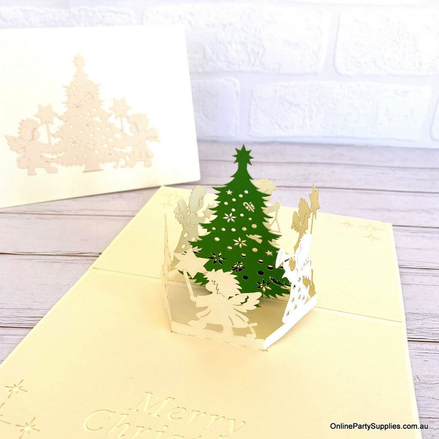 Online Party Supplies Australia White Angels Dancing Around Christmas Tree 3D Pop Up Greeting Card for kids