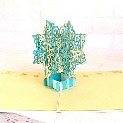 Handmade White & Blue Christmas Snowflake 3D Pop Up Card - Pop Up Christmas Cards