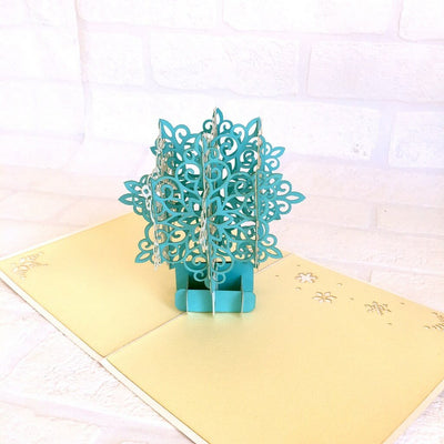 Handmade White & Blue Christmas Snowflake Pop Up Greeting Card - Pop Up Christmas Cards