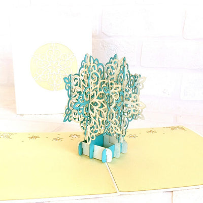Handmade White & Blue Christmas Snowflake Pop Up Card - Pop Up Christmas Cards