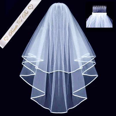 White Bridal Double Layer Wedding Veil and Bride To Be Satin Sash Set - Online Party Supplies