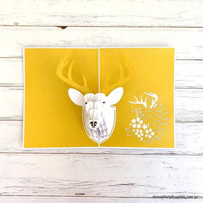 Online Party Supplies Australia Handmade Gold Deer Head Wall Mount Decor Pop Up Greeting Card For Kids