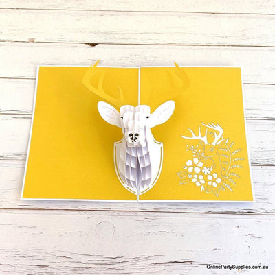 Online Party Supplies Australia Handmade Gold Deer Head Wall Mount Decor Pop Up Greeting Card For him