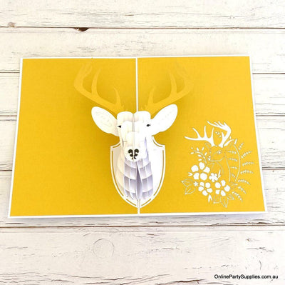 Online Party Supplies Australia Handmade Gold Deer Head Wall Mount Decor Pop Up Christmas Card For him