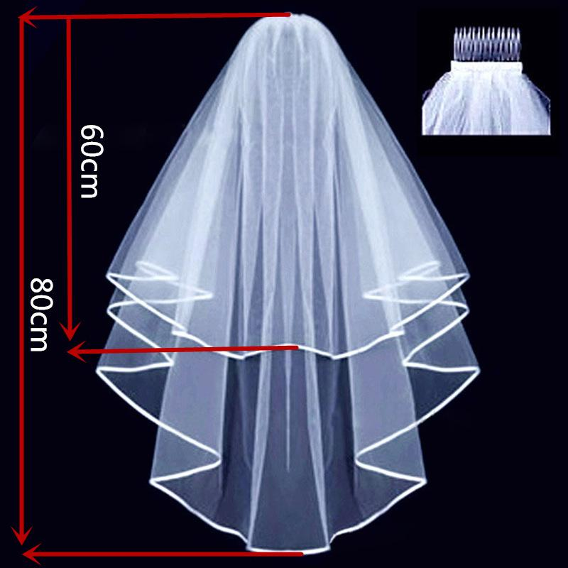 White Double Layer Bridal Wedding Veil - Online Party Supplies