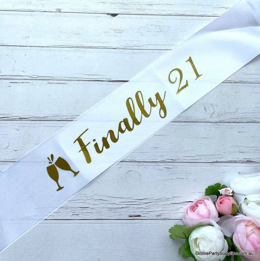White 'Finally 21' Satin Sash - 21st Birthday Party Decorations and Favours