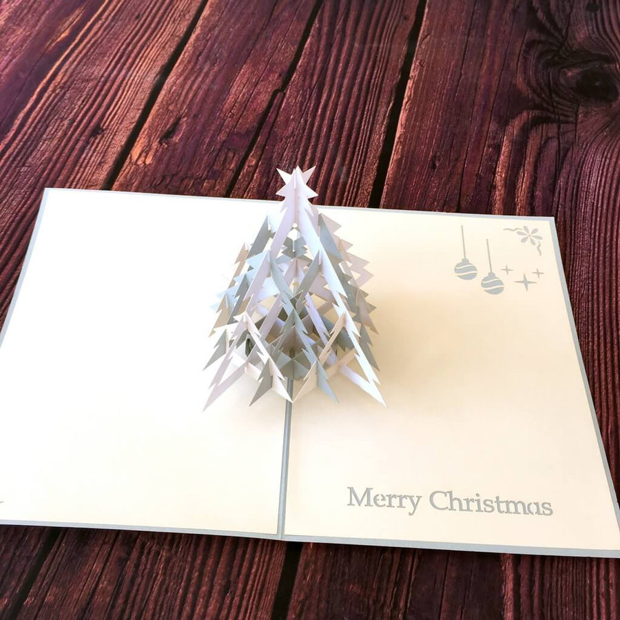 Handmade White & Grey Christmas Tree Pop Up Greeting Card - 3D Pop Up Xmas Cards