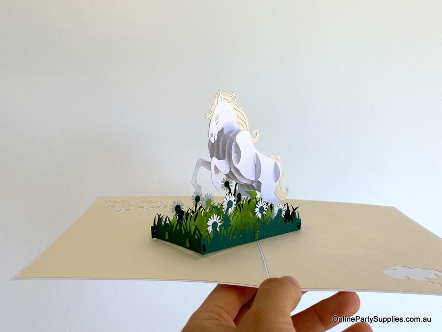 Handmade White White Horse 3D Pop Up Card - Animal Pop Up Cards
