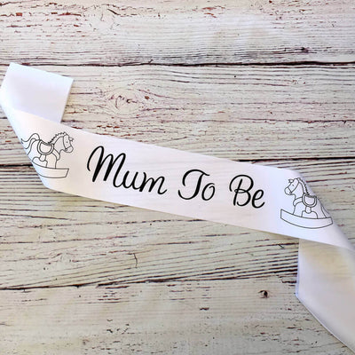 White Online Party Supplies Mum To Be with Rocking Horse Baby Shower Satin Sash