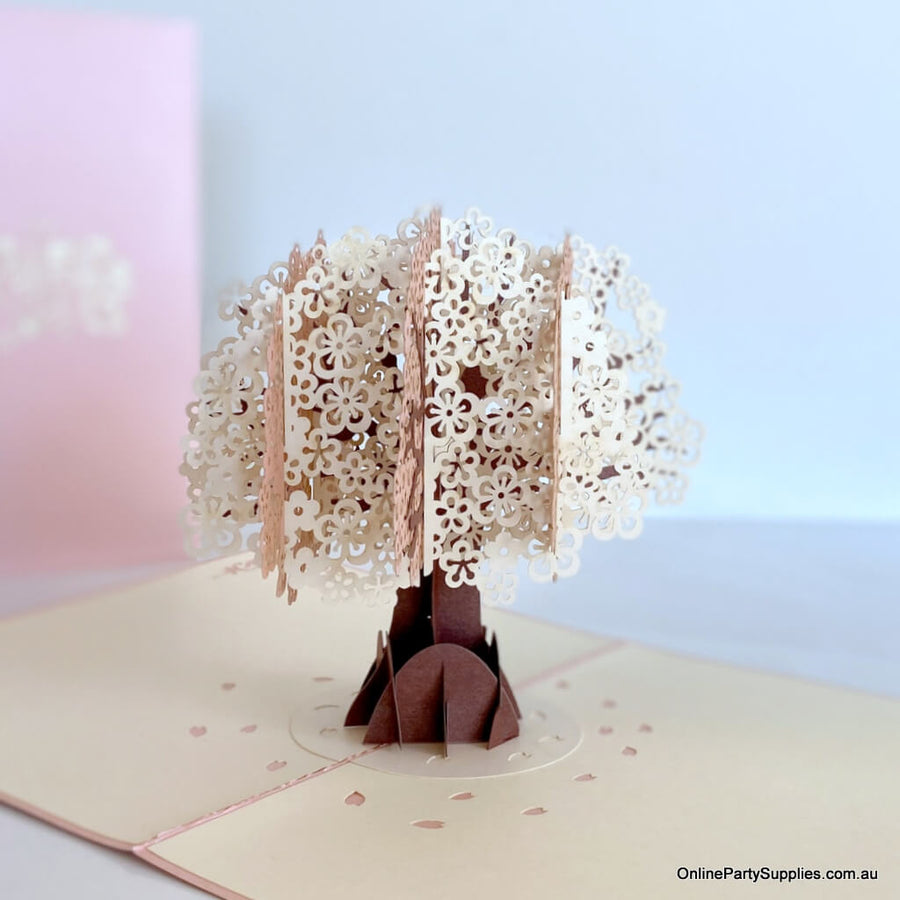 White Pink Japanese Sakura Cherry Blossom Tree Pop Card