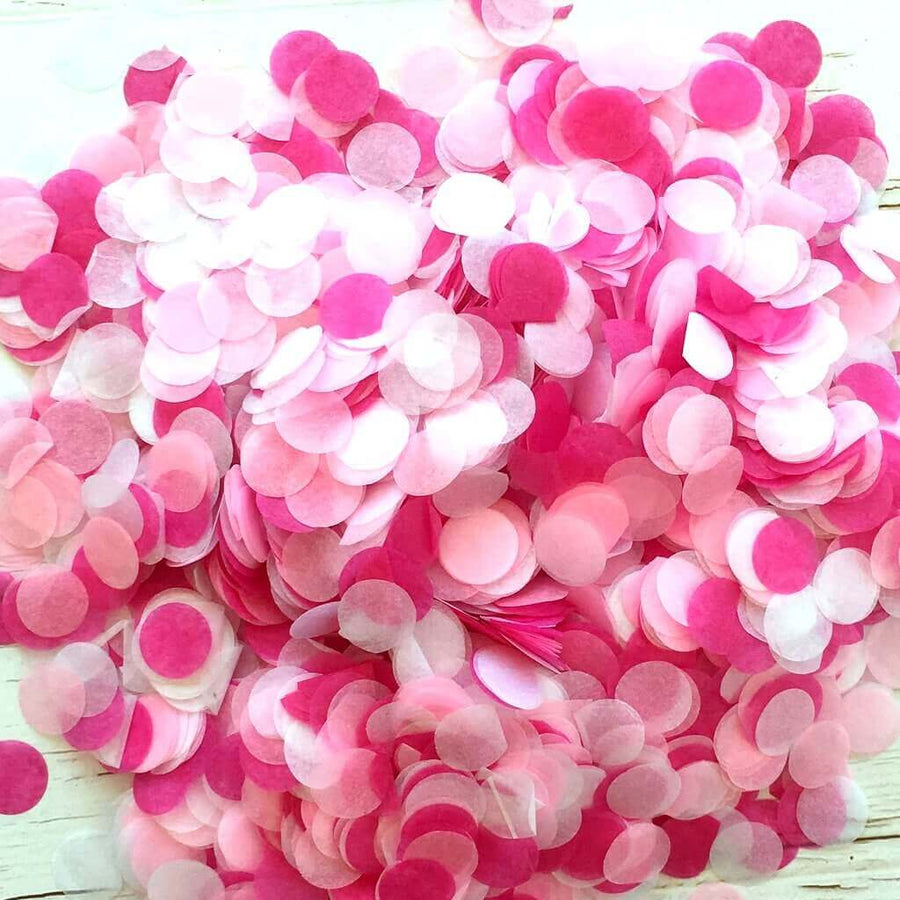 20g Round Circle Tissue Paper Party Confetti - White & Pink