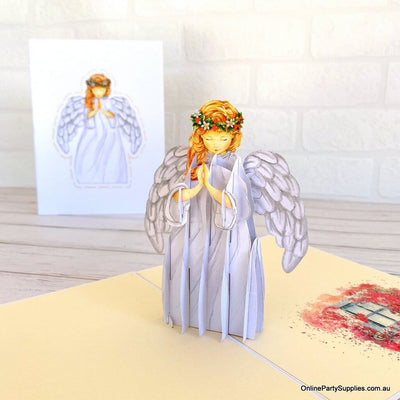 Online Party Supplies Australia Handmade Praying Guardian Angel Pop Up Christmas Card For Her