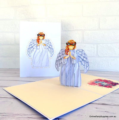 Online Party Supplies Australia Handmade Praying Guardian Angel Pop Up Christmas Card
