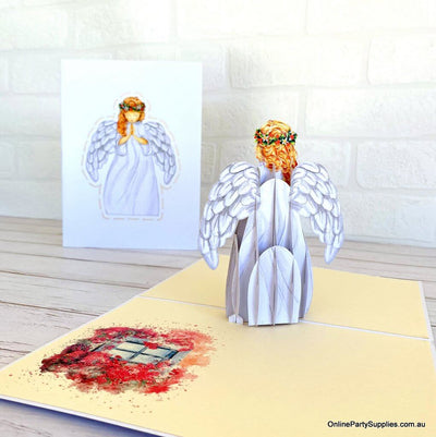 Online Party Supplies Australia Handmade Praying Guardian Angel Pop Up Christmas Greeting Card For Kids