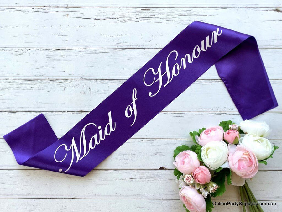 Purple 'Maid of Honour' Satin Sash - Bachelorette Party Sash