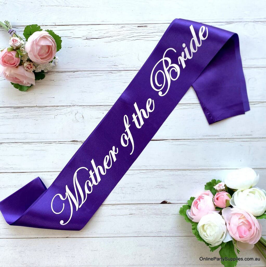 Purple Bridal Party Sashes with White Writing