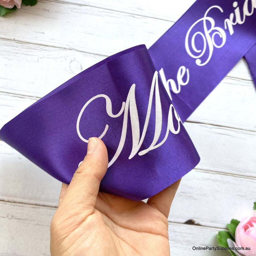 Online Party Supplies Australia Purple 'Mother Of The Bride' Bachelorette Party Satin Sash