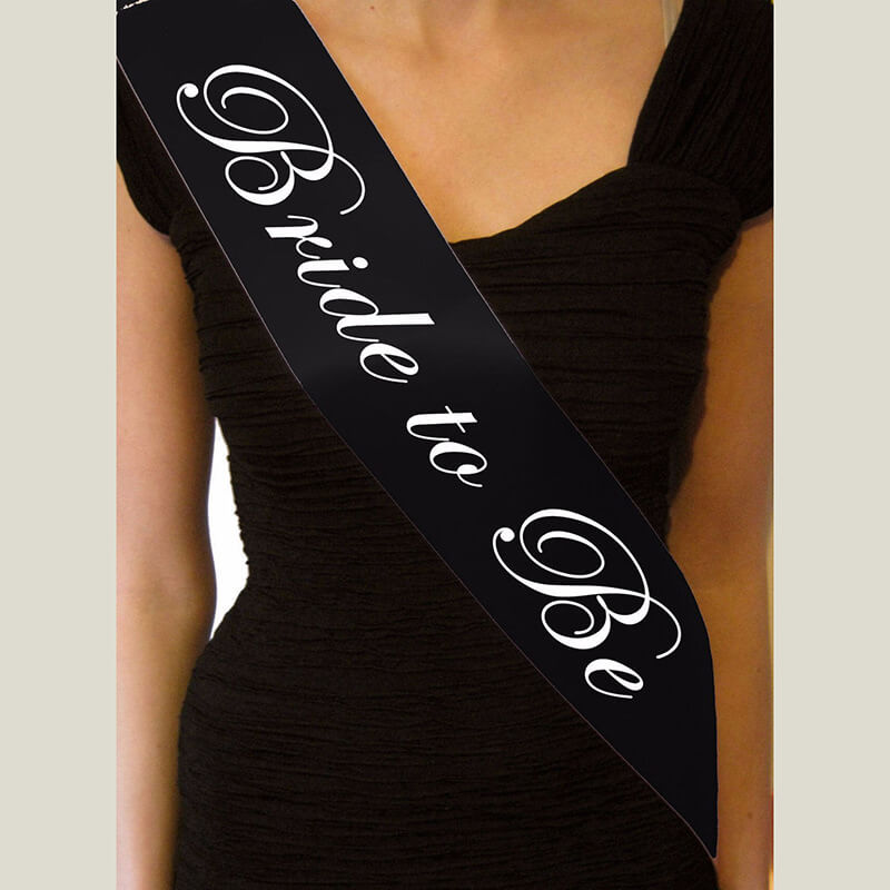 Black 'Bride to Be' Hen Party Satin Sash