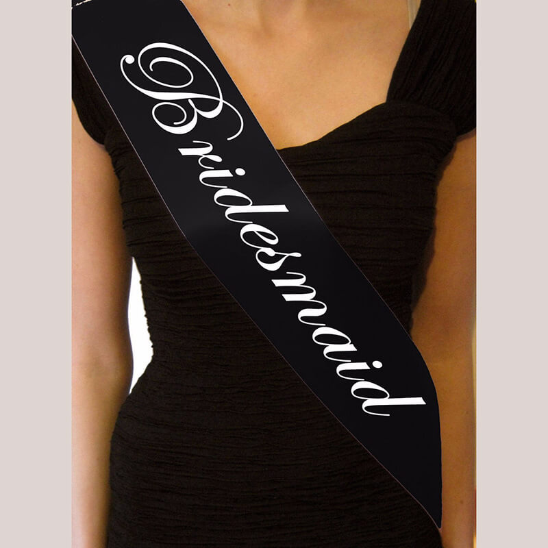 Black 'Bridesmaid' Hen Party Satin Sash