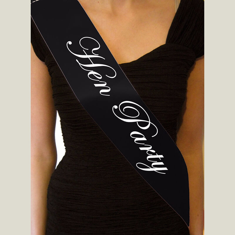 Online Party Supplies Australia Black 'Hen Party' Bachelorette Party Satin Sash