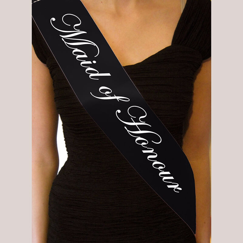 Online Party Supplies Australia Black 'Maid of Honour' Bachelorette Party Satin Sash