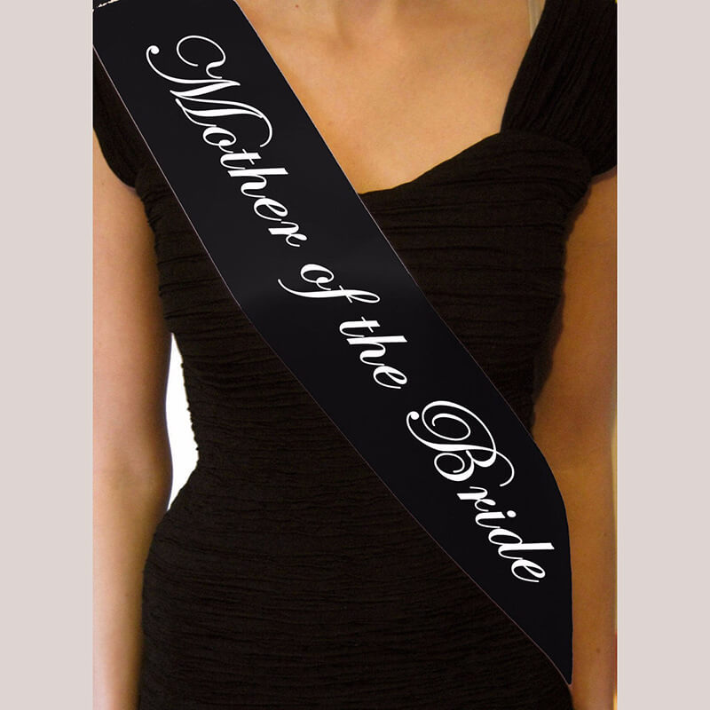 Online Party Supplies Australia Black 'Mother Of The Bride' Bachelorette Party Satin Sash