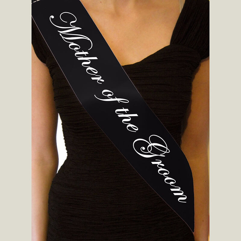 Online Party Supplies Australia black mother of the groom white writing satin sash