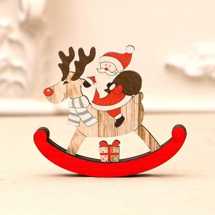 Wooden Christmas santa Riding Rocking Reindeer- Decorative Xmas Table Pendant, Christmas Party Decorations