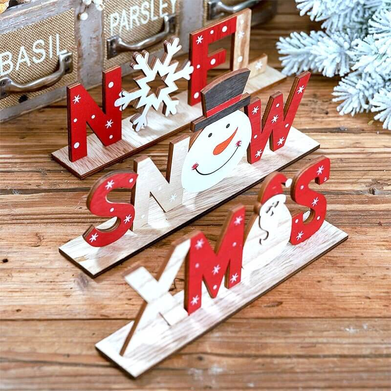 Wooden Christmas NOEL Ornament - Decorative Xmas Pendants for Christmas Party Decorations