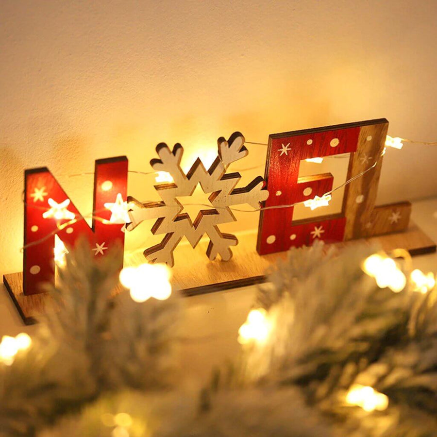 Wooden Christmas NOEL & Snowflake Shelf Sitter