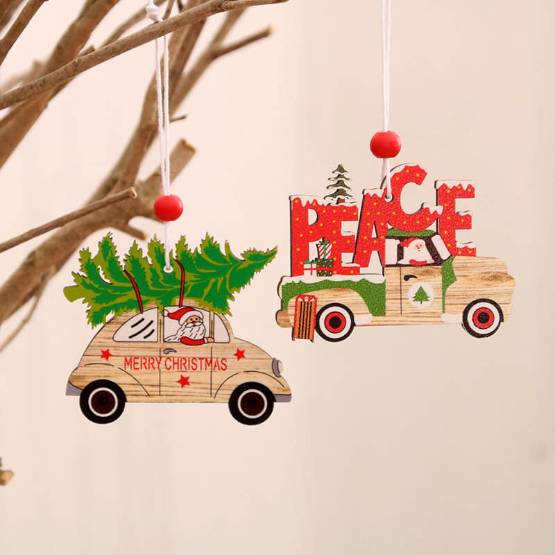 Wooden Vintage Christmas Vehicle Ornament
