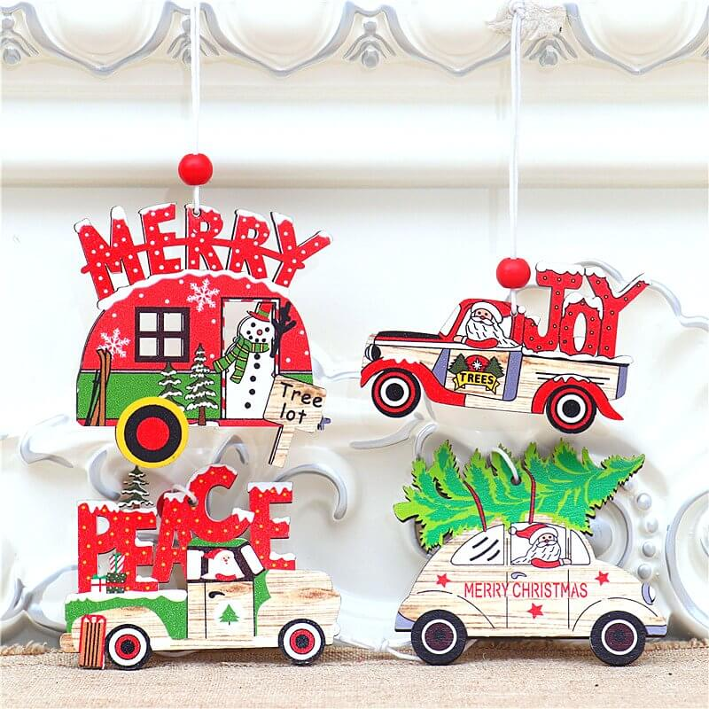 Wooden Vintage Christmas Vehicle Ornaments - Xmas Tree Hanging Pendants for Christmas Party Decorations
