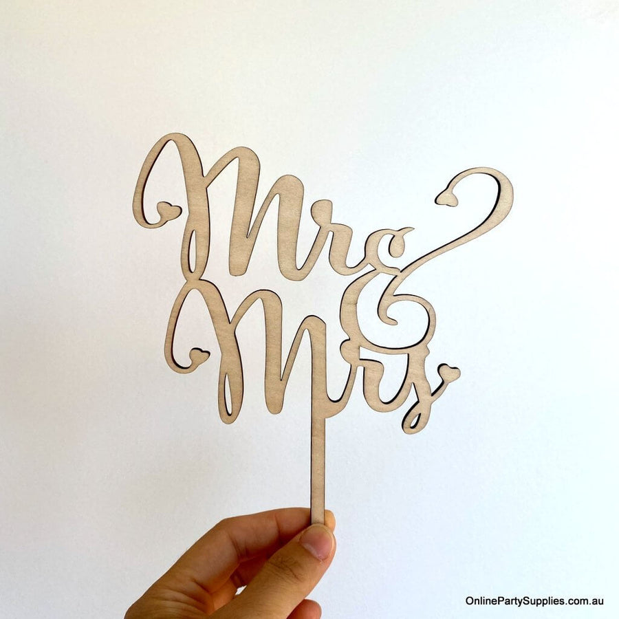 Online Party Supplies Australia Wooden 'mr & mrs' Wedding Cake Topper
