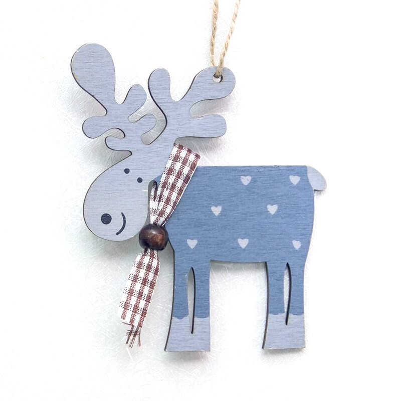Wooden Moose Christmas Hanging Ornament - Blue